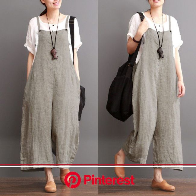 Cotton Linen Sen Department Causel Loose Overalls Big Pocket Maxi Size Trousers Women Clothes | Clothes for women, Trousers women, Fashion #beauty,#sk