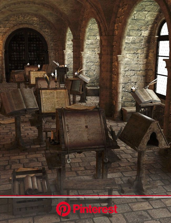 Medieval Scriptorium | 3D Models and 3D Software by Daz 3D | Medieval interior, Medieval aesthetic, Hogwarts aesthetic #beauty,#skincare