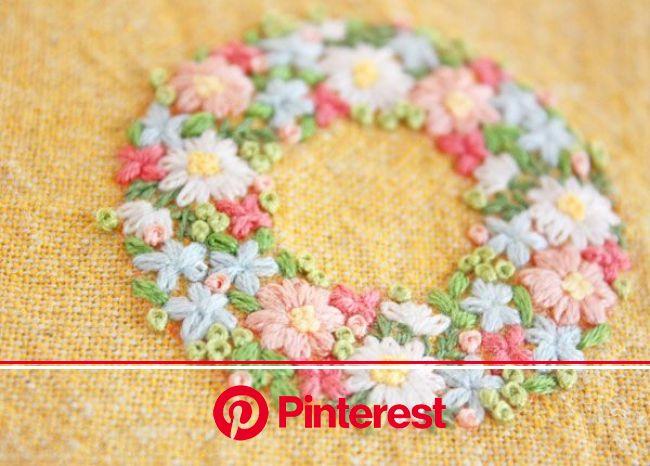 『小さなリース刺繍』 | 刺繍 図案, 手編み刺繍デザイン, 日本刺繍 #beauty,#skincare