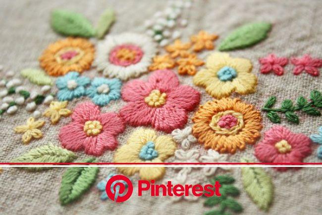 yula「カラフルな花」 | 刺繍 図案, 刺繡柄, クルーエルの刺繍 #beauty,#skincare