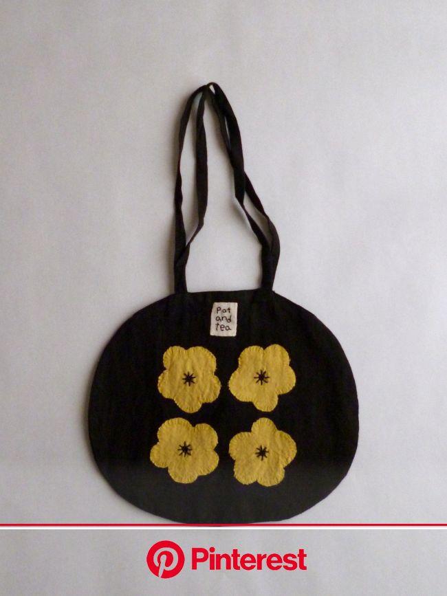 pot and tea   4つのお花のバッグ   ファブリックバッグ, バッグのパターン, 布バッグ #beauty,#skincare