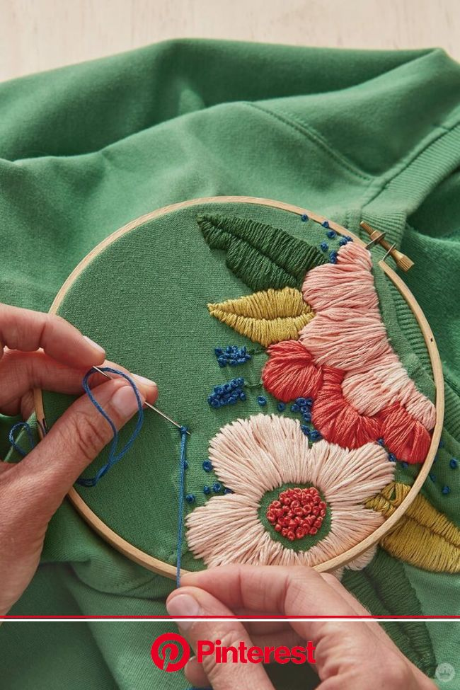 Brighten up a t-shirt with a free flower embroidery pattern (plus a bonus design idea) - Think.Make.Share. | Floral embroidery patterns, Embroidery pa