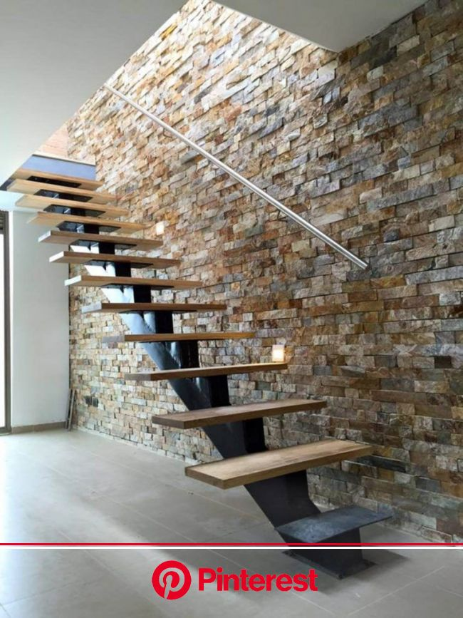 33 Elegant Interior Stone Wall Ideas for a Serious Design Upgrade | Stairs design modern, Stone walls interior, Home stairs design #beauty,#skincare