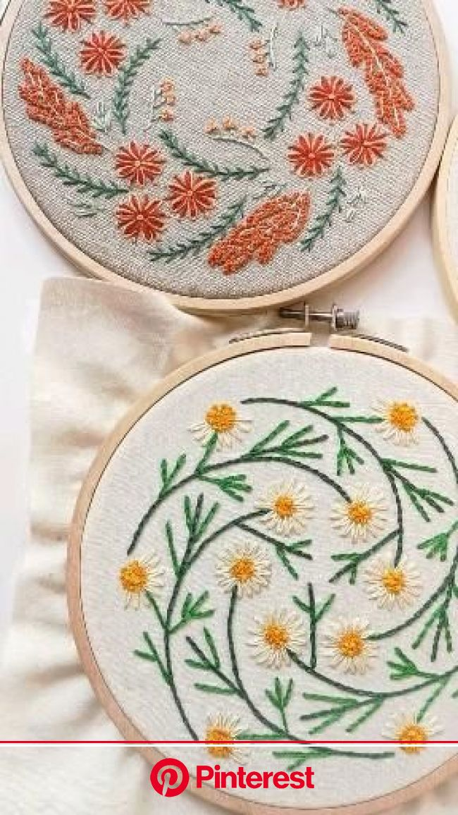 """Beginner Hand Embroidery Sampler, Floral Embroidery Design """"Chamomile Meadow"""" [Video] in 2021 