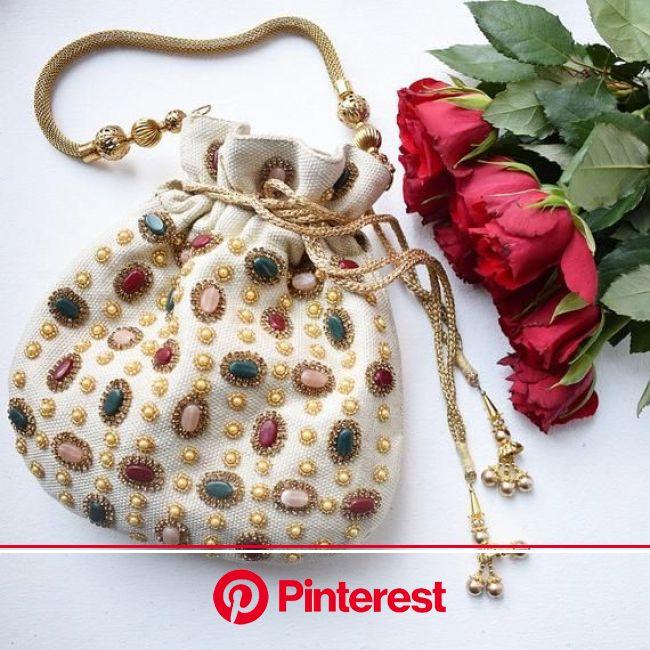 Cream Jute Stone Embellished Potli Bag | Etsy in 2021 | Beaded bags, Embellished purses, Potli bags #beauty,#skincare