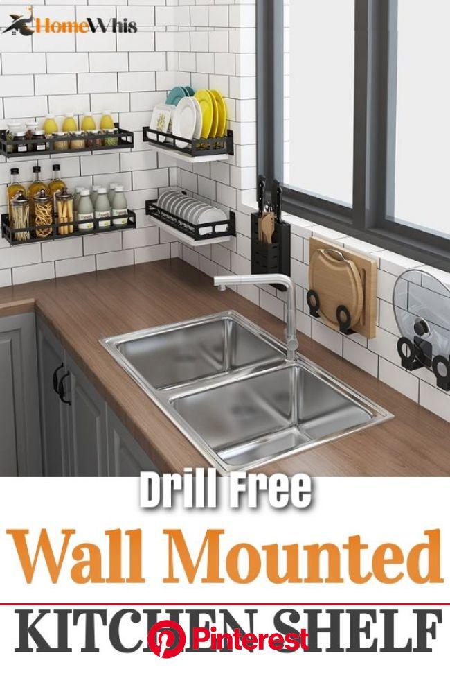 Wall Mounted Kitchen Organizing Shelf [Video] | Wall mounted kitchen shelves, Kitchen furniture design, Diy kitchen storage #beauty,#skincare