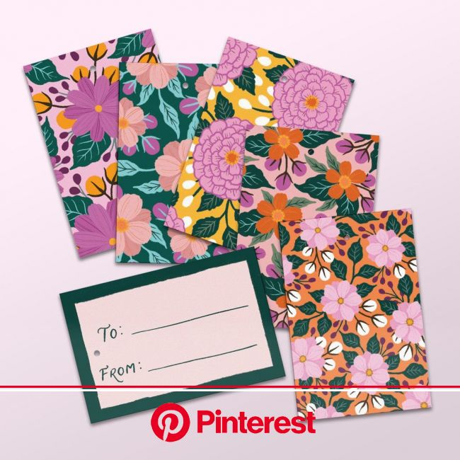 Assorted Gift Tags  Hand-illustrated floral gift tags set of 5.  #gifttags #floralstationery #papergoods #floraldes… | Print design art, Card art, Han