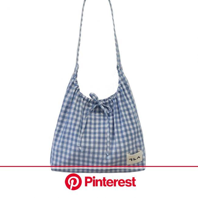 GINGHAM CHECK COTTON BAG_blue | 토트 백 패턴, 가방 패턴, 패브릭 가방 #beauty,#skincare