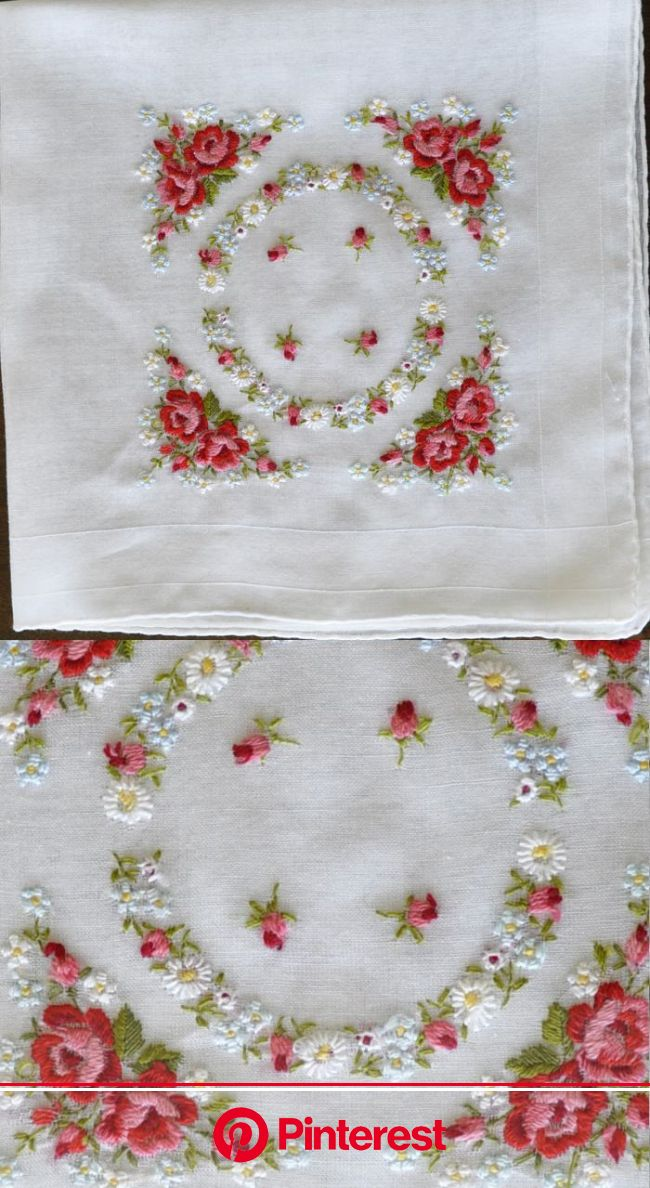 Antique Style: Hanky Primer #3:  Embroidered and Petit Point Hankies | Flower embroidery designs, Hand embroidery, Silk ribbon embroidery #beauty,#ski